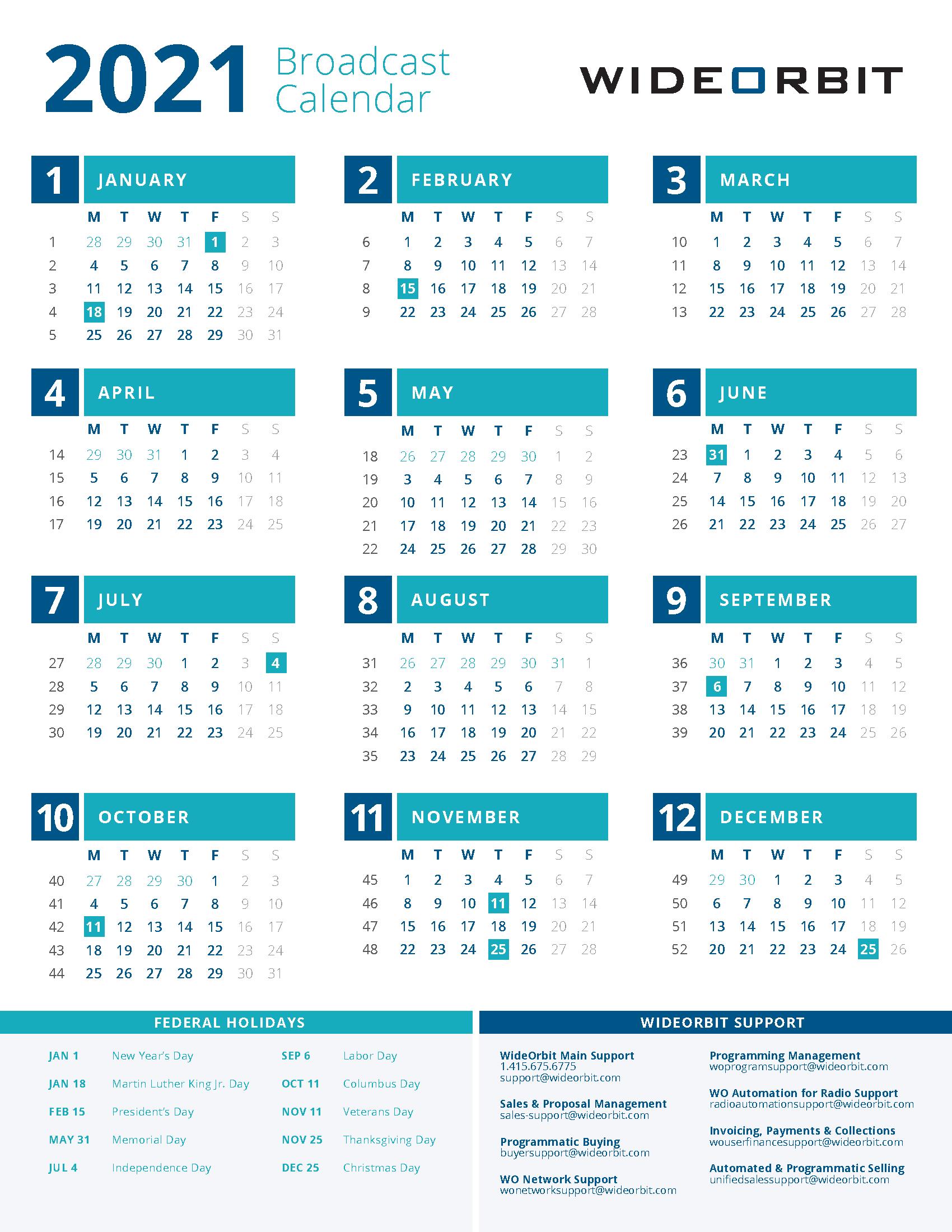 Broadcast Calendar 2021 2021 WideOrbit Broadcast Calendar