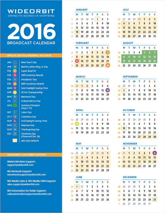 2016 wideorbit broadcast calendar part number 141 calendar regular