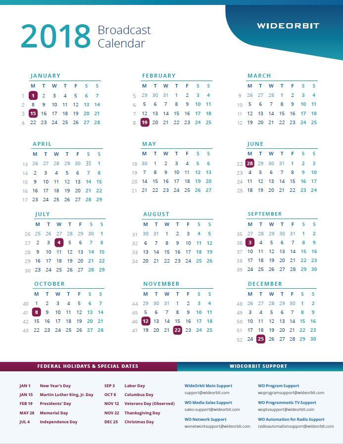 2018 WideOrbit Broadcast Calendar