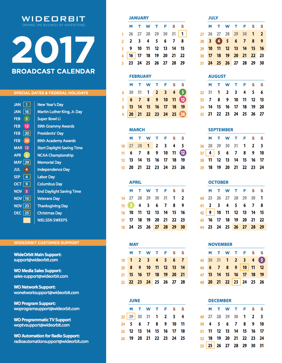 Calendar Related Keywords & Suggestions - 2017 Broadcast Calendar ...