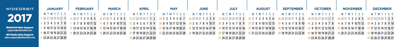 Calendar Related Keywords & Suggestions - 2017 Broadcast Calendar ...